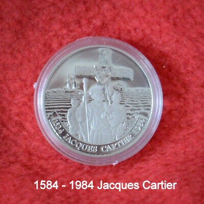Canada 1984 Jacques Cartier Silver Dollar Proof Coin. Uncirculated. With Boxes.