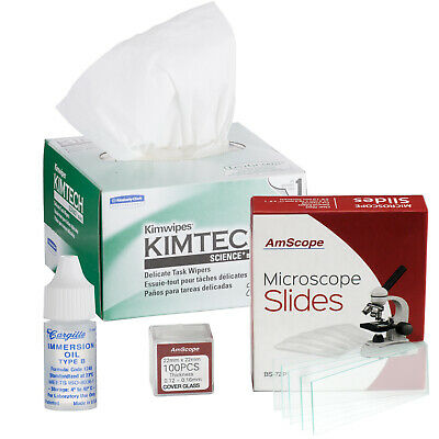 AmScope Microscope Immersion Oil.25oz Type B + Kimwipes 72 Slides 100 Coverslips