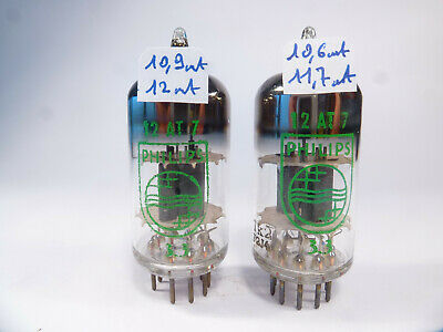 two ECC81 12AT7 Philips code Tk2 pair tubes close matched near new old stock NOS
