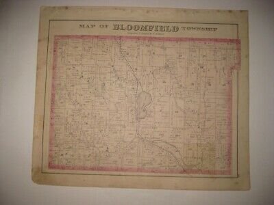 Antique 1876 Bloomfield Township Riceville Crawford County Pennsylvania Map Fine