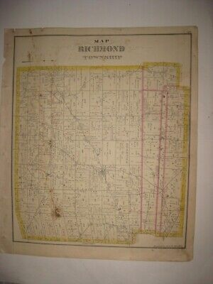 Antique 1876 Richmond Township Crawford County Pennsylvania Handcolored Map Fine