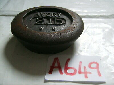 Vintage Avery Cast Iron 2Lb Round Kitchen Shop Scale Weight / Paperweight