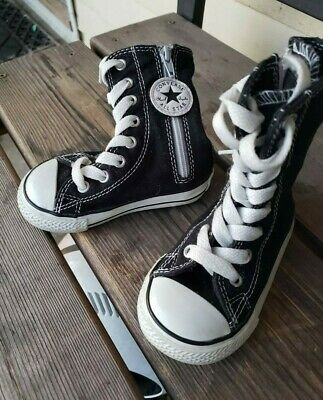 CONVERSE baby toddler girls SZ 5C BLACK EXTRA HIGH TOP full zip lace up sneakers