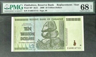 Zimbabwe 10 Trillion Dollars 2008 P 88* Replaceme Superb Gem Unc Pmg 68 Epq High