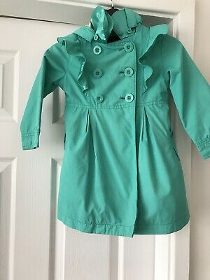 TED BAKER AGE 2-3 GIRLS DESIGNER Spring Summer Green MAC COAT Detachable HOODED