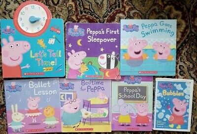 6 PEPPA PIG CHILDREN'S SCOLASTIC PICTURE BOOKS ,Tell Time  bk is board + 1 DVD