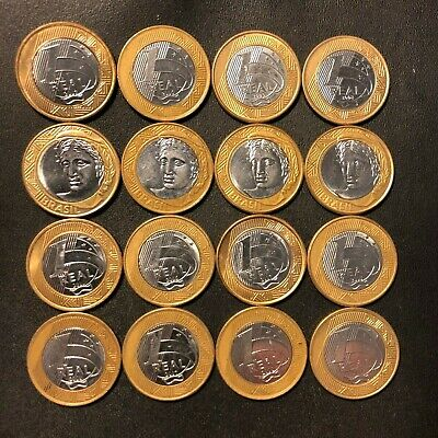 12 Bi-Metal Reals FREE SHIPPING AU//UNC Old Brazil Coin Lot
