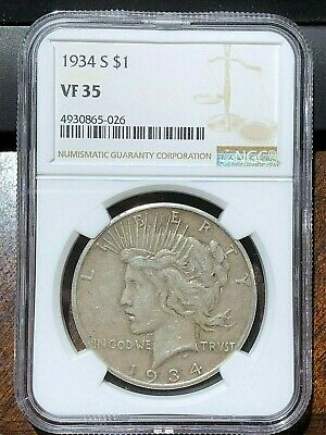 1934 S MINT PEACE SILVER DOLLAR key date NGC VF35 choice very fine