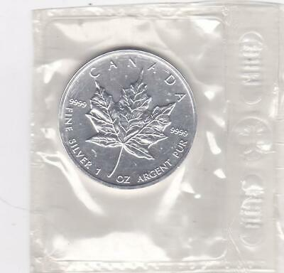 1996 Canada Maple Leaf $5 Cad 1 Oz. .9999 Fine Silver Original Rcm Pkg