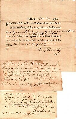 1780, Soldiers group of three pay orders, Hinkley, 2nd Connecticut Brigade,