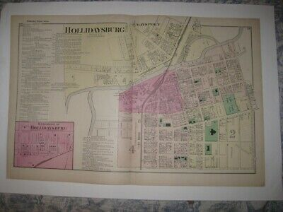 Superb Antique 1873 Hollidaysburg Blair County Pennsylvania Handcolored Map Fine