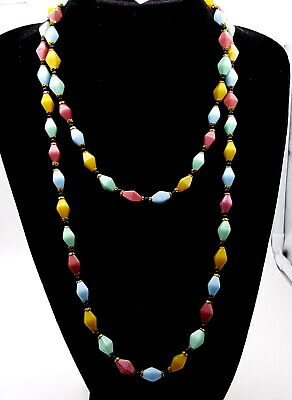 Art Deco Flapper multicolored Moonglow glass beads necklace