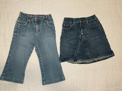 Baby Gap Girls 18-24 Months Denim Skirt And Blue Jeans