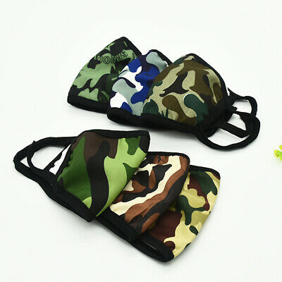 5PCS UNISEX CAMOUFLAGE BREATHABLE REUSABLE ANTI DROPLET DUST MOUTH COVER Atom