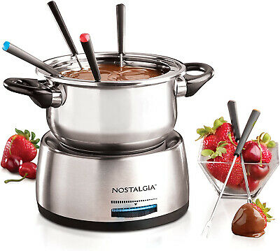 Nostalgia FPS200 6Cup Stainless Steel Electric Fondue Pot with Temperature 6