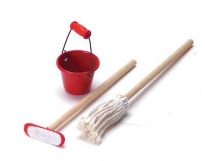 Mini Tin Bucket Mop Set For 1:12 Miniature Dollhouse Craft Room D DIY Decor J5A3