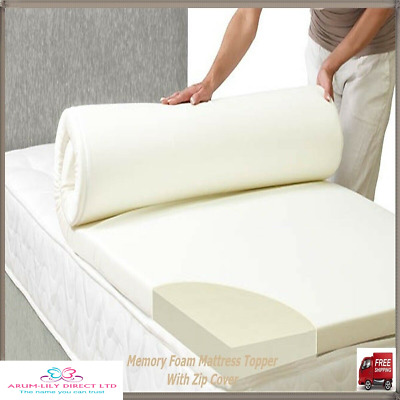 Orthopedic Memory Foam Mattress Toppers All Sizes & Depths With Zip