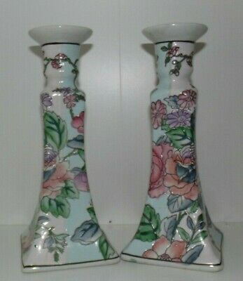 CHINESE PAIR of CANDLESTICKS,  CHINESE CANDLE HOLDERS, PORCELAIN FLOWER EMBOSSED