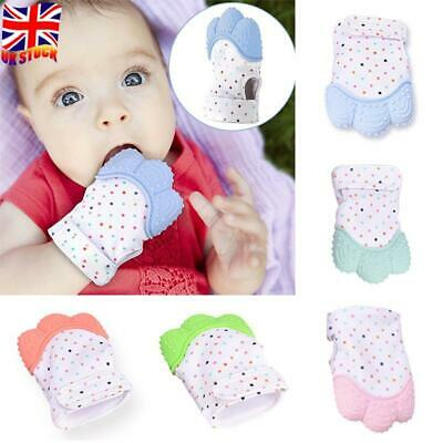Baby Silicone Teething Mitten Teether Mitts Bite Glove Candy Wrapper Safety UK
