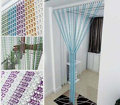Chain Curtain Aluminum Door Curtain Metal Chain Fly Insect Blinds Screen214x90CM