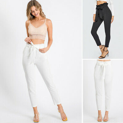 Women's High Waist Tie Front Paperbag Ankle Pants Slim Skinny Casual Pockets