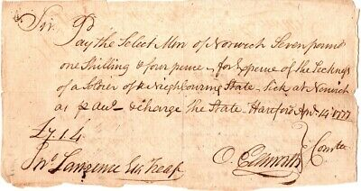 1777, Oliver Ellsworth, Dudley Pettibone, signed pay order for sick soldiers