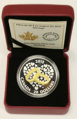2015 Canada $20 Wedding Coin 1oz 9999 silver Choice Proof condition