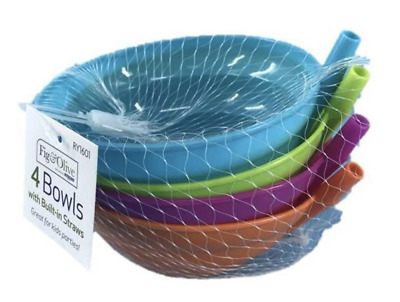 4 x Sip-a-bowl Cereal Bowl for Kids Plastic Soup Bowl with Built in Straw