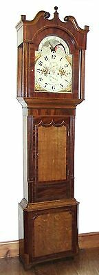 ~ Antique Rolling Moon Oak & Mahogany Longcase Grandfather Clock JONES HOLYWELL