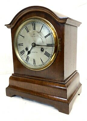~ CHESTER Antique Mahogany TING TANG Bracket Mantel Clock : CLEANED & SERVICED