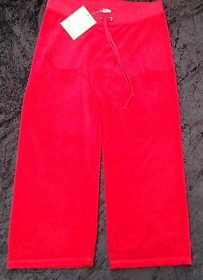 NWT Juicy Couture New & Genuine Ladies Small Red Towelling Crop Pants UK 8/10