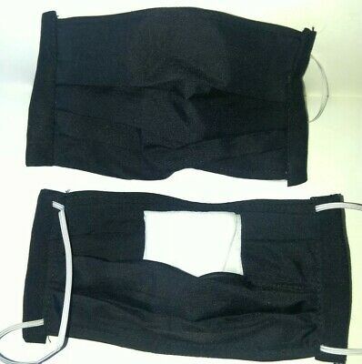 Washable  Face Mask 3 Cotton Fabric Layers Black with filter pocket