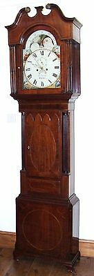 ~ Antique Inlaid Mahogany Moon Phase Longcase Grandfather Clock FLETCHER CHESTER