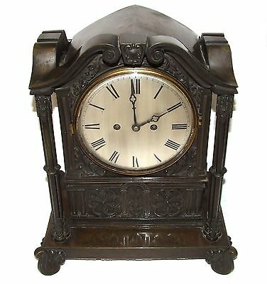 ~ Antique Gothic BRONZE Twin Double Fusee Bracket Mantel Clock CLEANED SERVICED