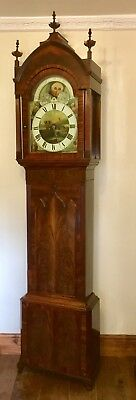 ~ Antique Mahogany Rolling Moon Longcase Grandfather Clock THOMAS HOLMES CHEADLE