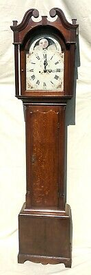 Antique Rolling Moon Phase Oak Mahogany Longcase Grandfather Clock HAYES WREXHAM
