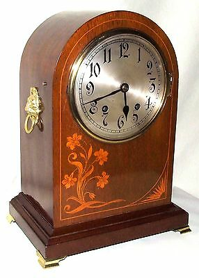 ~ Antique Inlaid Mahogany TING TANG Bracket Mantel Clock : W & H Sch (a4)