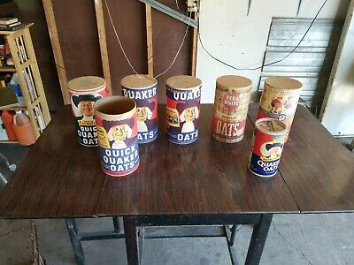 Vintage lot 7 Quaker Oats Oatmeal Empty Cardboard Containers w/lids