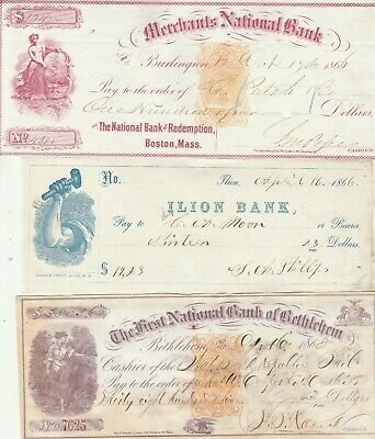 Three (3) Old Checks From The 1860'S      Nice Revenue Stamps