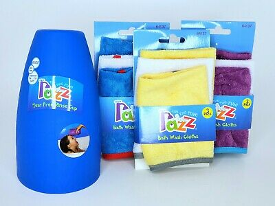 (Lot of 4) Razz Tub Time Fun Baby Bath Wash Cloths with One Rinse Cup