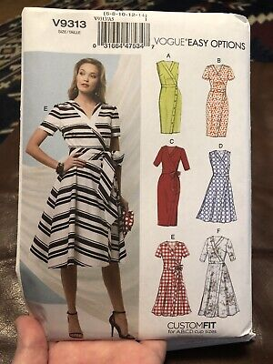 Size 14-22 Sewing Pattern V9313 Vogue Custom Fit Womens Wrap Dresses