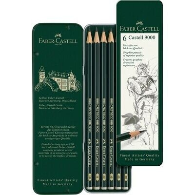 #119063 Faber Castell Tin of 6 Castell 9000 Graphite Pencils Artists Art Set