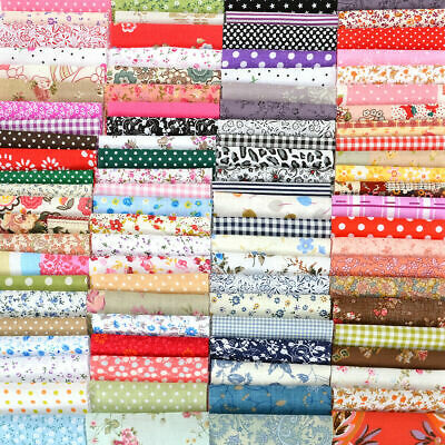 100pcs Mixed Cotton Fabric Material Sewing Value Bundle Scraps Offcuts Quilting