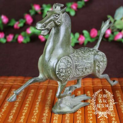 Exquisite Chinese handmade antiques Bronze ware Horse statue v36