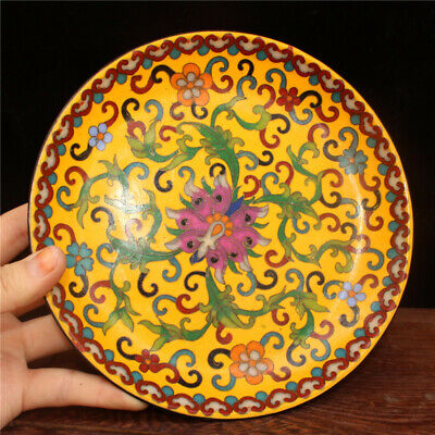 "7.09"" Collect China pure copper Cloisonne painted flower pattern Handmade plate"