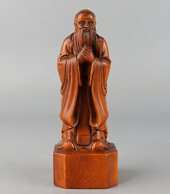 Chinese Exquisite Hand-carved Old man Carving Boxwood statue cc362