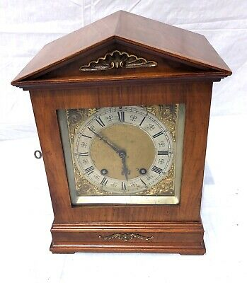~ Antique Architectural LENZKIRCH Walnut TING TANG Bracket Mantel Clock WORKING