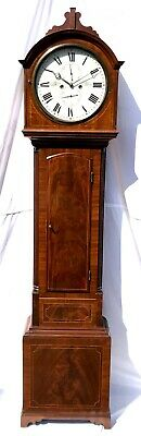 ~ Antique Inlaid Mahogany Longcase Grandfather Library Clock : DARLING EDINBURGH
