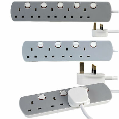 Mains Extension Lead Individual Switch UK Power 1m 2m 5m 10m 3/4/5 Way Socket