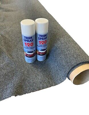 4sqm Smoke Stretchy Camper Van Lining Carpet Kit & 2 Trim Spray Adhesive